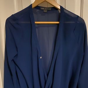 Sheer blue, drape-front, bi-level blouse